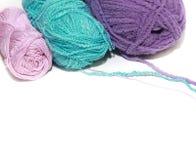 Três skeins para fazem crochê Fotos de Stock