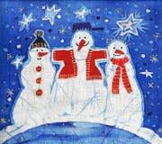 Três snowmans Imagens de Stock
