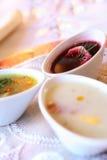 Três sopas em umas bacias Fotos de Stock Royalty Free