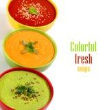 Três sopas frescas Fotos de Stock Royalty Free