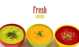 Três sopas frescas Imagens de Stock