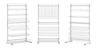 Três suportes com cestas e ganchos de fio Fotografia de Stock