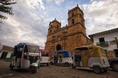 Três táxis rodados pequenos em Barichara Fotos de Stock Royalty Free
