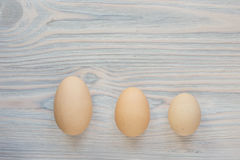 Três tamanhos diferentes dos ovos imagens de stock