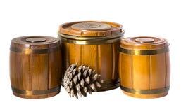 Três tambores e cones de madeira fotografia de stock
