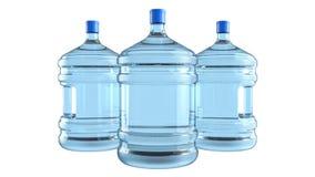 Três tambores plásticos grandes, garrafa com um punho para o refrigerador de água do escritório Imagem de Stock
