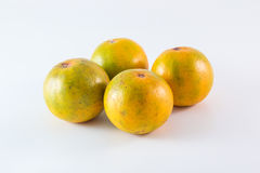 Três tangerinas no fundo branco Fotografia de Stock
