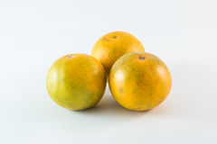 Três tangerinas no fundo branco Foto de Stock Royalty Free