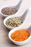 Três tipos da lentilha em umas bacias Foto de Stock Royalty Free