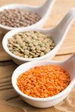 Três tipos da lentilha em umas bacias Foto de Stock