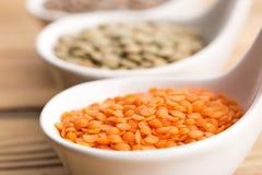 Três tipos da lentilha em umas bacias Fotografia de Stock Royalty Free