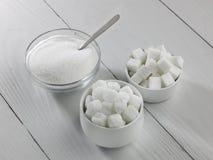 Três tipos de açúcar Foto de Stock