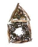 Três tipos de chá sob a forma da casa foto de stock royalty free