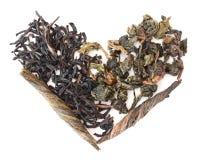 Três tipos de chá sob a forma do coração imagem de stock royalty free