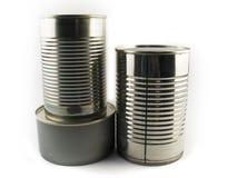 Três tipos diferentes de lata de estanho para o alimento imagem de stock