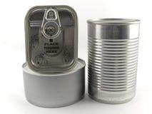 Três tipos diferentes de lata de estanho para vagabundos do branco do alimento Fotos de Stock
