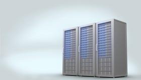 Três torres cinzentas digitais do servidor Imagens de Stock