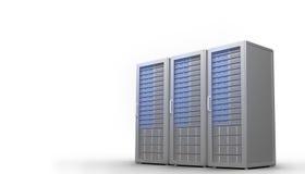 Três torres cinzentas digitais do servidor Fotos de Stock