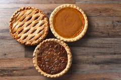 Três tortas da ação de graças Fotos de Stock