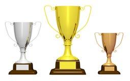 Três troféus no fundo branco ilustração royalty free