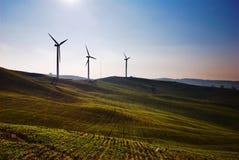 Três turbinas de vento fotografia de stock royalty free