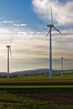 Três turbinas de vento da exploração agrícola de vento no campo Imagem de Stock Royalty Free