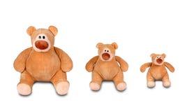 Três ursos de peluche de assento Fotografia de Stock Royalty Free