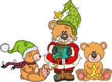 Três ursos de peluche no Natal ilustração stock