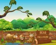 Três ursos no jardim zoológico aberto ilustração do vetor