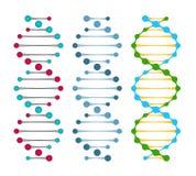 Três variações de moléculas do ADN da costa dobro Imagem de Stock Royalty Free