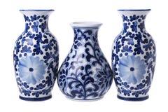 Três vasos florais chineses Foto de Stock