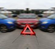Três veículos após um acidente de trânsito Fotografia de Stock Royalty Free