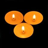 Três velas de triângulo Imagens de Stock