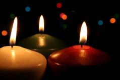 Três velas festivas Fotos de Stock Royalty Free