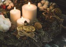 Três velas, pinecones e galhos brancos Imagens de Stock