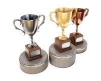 Três vencedores do copo no pódio isolado no fundo branco 3d Fotografia de Stock Royalty Free