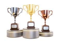 Três vencedores do copo no pódio isolado no fundo branco 3d Fotos de Stock Royalty Free
