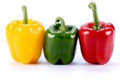 Três vermelho doce dos legumes frescos três de pimenta doce da cor, Yello Imagens de Stock Royalty Free