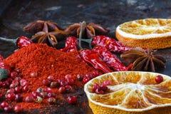 Três versões da pimenta vermelha no fundo escuro Alimento picante concentrado Imagem de Stock