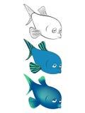 Três versões de uma ilustração dos desenhos animados das águas profundas pescam: esboço preto e branco, cor, inclinação Fotografia de Stock