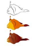 Três versões de uma ilustração dos desenhos animados das águas profundas pescam: esboço preto e branco, cor, inclinação Imagens de Stock