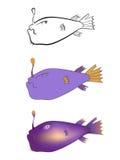 Três versões de uma ilustração dos desenhos animados das águas profundas pescam: esboço preto e branco, cor, inclinação Imagem de Stock