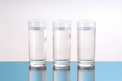Três vidros da água fotos de stock royalty free