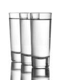 Três vidros da vodca Foto de Stock Royalty Free