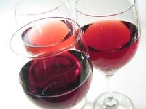 Três vidros de vinho Fotografia de Stock Royalty Free