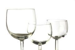 Três vidros vazios Foto de Stock Royalty Free