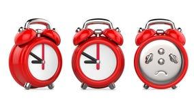 Três vistas do despertador do vermelho dos desenhos animados ilustração 3d, no fundo branco Fotografia de Stock Royalty Free