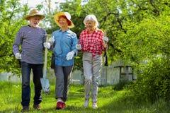 Três vizinhos que tomam pás e árvores que vão plantá-las foto de stock royalty free