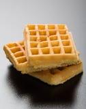 Três waffles na tabela preta Fotos de Stock Royalty Free