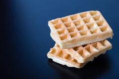 Três waffles na tabela preta Fotografia de Stock
